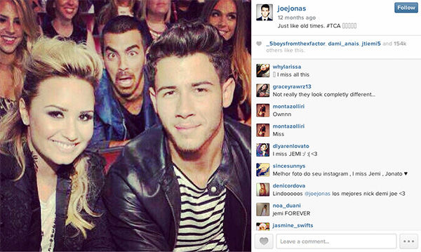 "<div class=""meta ""><span class=""caption-text "">Joe Jonas photobombs his ex-grilfriend, Demi Lovato, and younger brother, Nick Jonas. (joejonas / Instagram)</span></div>"