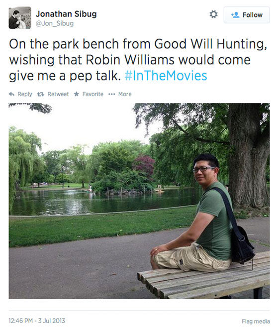 "<div class=""meta image-caption""><div class=""origin-logo origin-image ""><span></span></div><span class=""caption-text"">Before his death, the Boston Public Garden bench was already very associated with Williams' famous role. (Jon_Sibug / Twitter)</span></div>"
