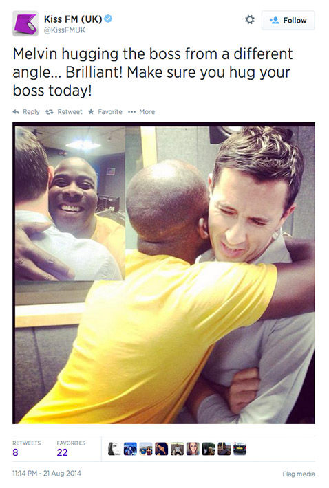 Twitter users celebrate the chance to hug it out with their bosses today. <span class=meta>(KissFMUK&#47;Twitter)</span>