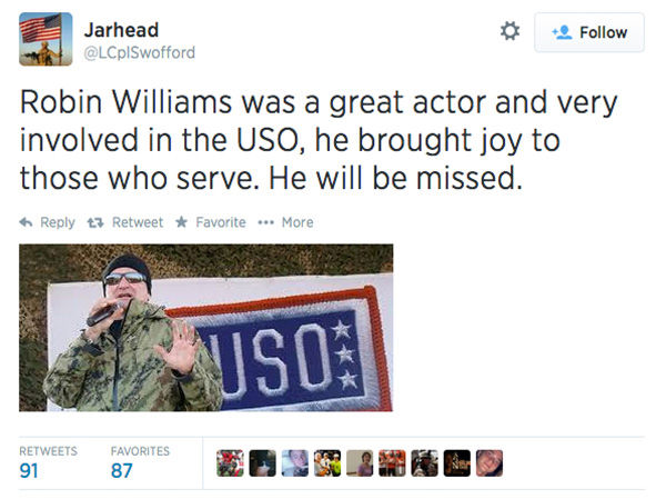 Social media outpours in grief over the death of actor Robin Williams. <span class=meta>(LCplSwofford &#47; Twitter)</span>