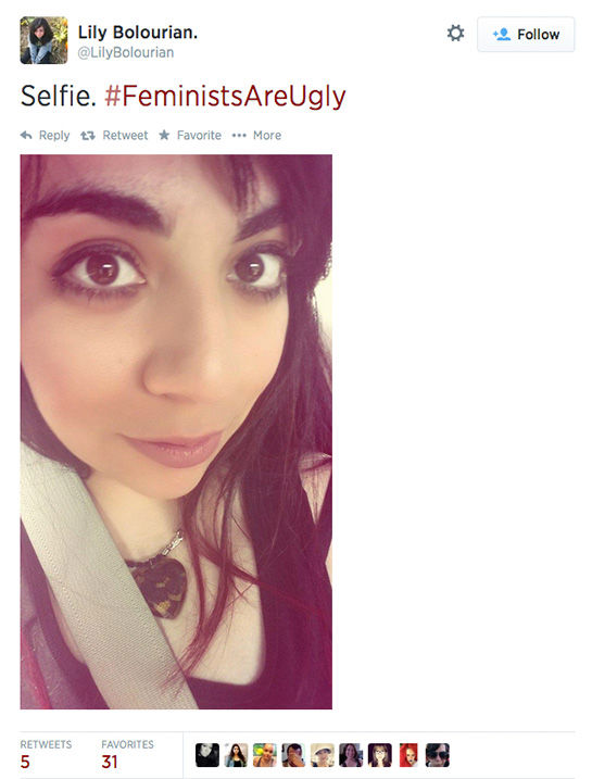 "<div class=""meta ""><span class=""caption-text "">The arrival of a new hashtag, #FeministsAreUgly, has feminists around the world posting selfies on Twitter, repurposing the word 'ugly' to mean something beautiful. (LilyBolourian / Twitter)</span></div>"