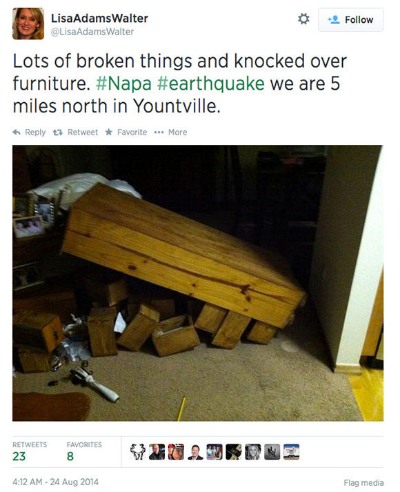 "<div class=""meta image-caption""><div class=""origin-logo origin-image ""><span></span></div><span class=""caption-text"">Northern California residents post photos of the earthquake damage online, and respond to concerned tweets from around the nation. (LisaAdamsWalter / Twitter)</span></div>"