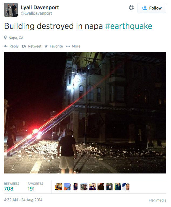 "<div class=""meta image-caption""><div class=""origin-logo origin-image ""><span></span></div><span class=""caption-text"">Northern California residents post photos of the earthquake damage online, and respond to concerned tweets from around the nation. (Lyalldavenport / Twitter)</span></div>"