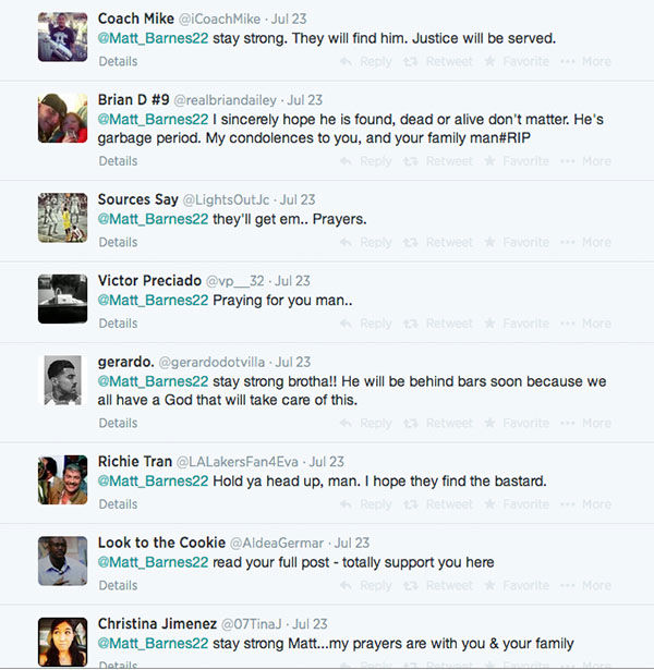 Responses from Barnes' followers have been very positive, with many offering their prayers and support for the player.