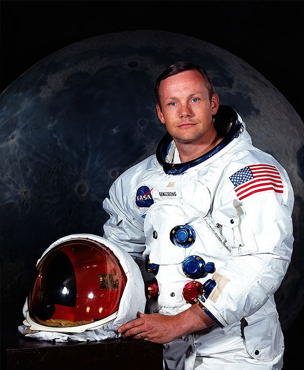 Portrait of Neil Armstrong, the Commander of the Apollo 11 mission and the first man to step foot on the moon. Armstrong previously flew into space on the Gemini 8 mission. <span class=meta>AP</span>