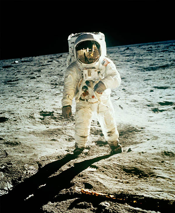 <div class='meta'><div class='origin-logo' data-origin='none'></div><span class='caption-text' data-credit='AP'>Neil Armstrong took this photo of Buzz Aldrin while the two were on the moon. The two astronauts spent just little more than two hours walking the moon's surface.</span></div>