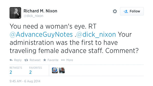The Nixon account responds to staffing questions from his social media constituents. <span class=meta>(dick_nixon &#47; Twitter)</span>