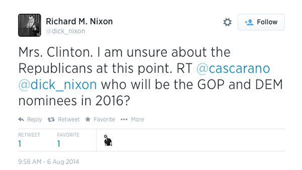 The Nixon account displays strong admiration for Hillary Clinton. <span class=meta>(dick_nixon &#47; Twitter)</span>
