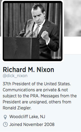 The Nixon account&#39;s bio.  <span class=meta>(dick_nixon &#47; Twitter)</span>