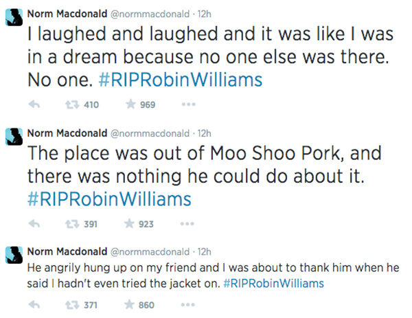 "<div class=""meta ""><span class=""caption-text "">Norm MacDonald shares his story about Robin Williams via Twitter. Tweets reorganized to be in sequential order. (normmacdonald / Twitter)</span></div>"