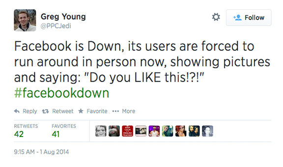 "<div class=""meta image-caption""><div class=""origin-logo origin-image ""><span></span></div><span class=""caption-text"">When Facebook goes down, Twitter reacts (PPCJedi / Twitter)</span></div>"
