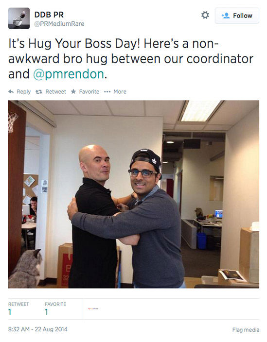 Twitter users celebrate the chance to hug it out with their bosses today. <span class=meta>(PRMediumRare&#47;Twitter)</span>