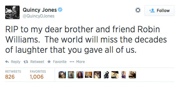 Music composer Quincy Jones shared his condolences. <span class=meta>QuincyDJones / Twitter</span>