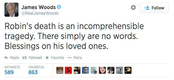 Actor James Woods expressed his condolences. <span class=meta>(RealJamesWoods &#47; Twitter)</span>