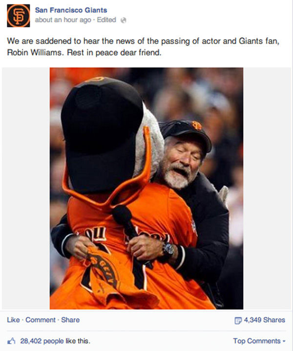 <div class='meta'><div class='origin-logo' data-origin='none'></div><span class='caption-text' data-credit='San Fransisco Giants / Facebook'>Social media outpours in grief over the death of actor Robin Williams.</span></div>