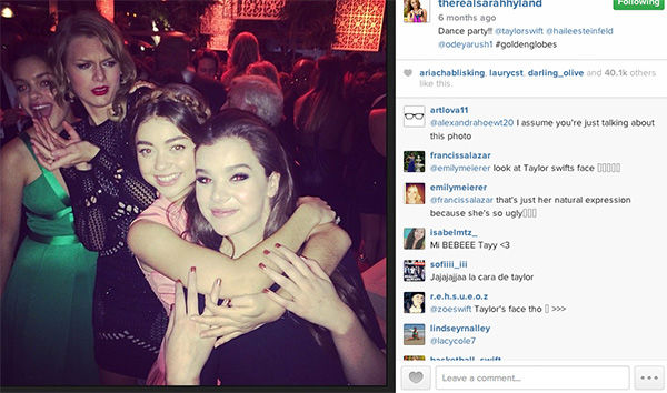 "<div class=""meta ""><span class=""caption-text "">Taylor Swift photobombs Sarah Hyland and Hailee Seinfeld. (therealsarahhyland / Instagram)</span></div>"