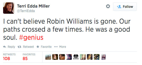 Social media outpours in grief over the death of actor Robin Williams. <span class=meta>TerriEdda / Twitter</span>
