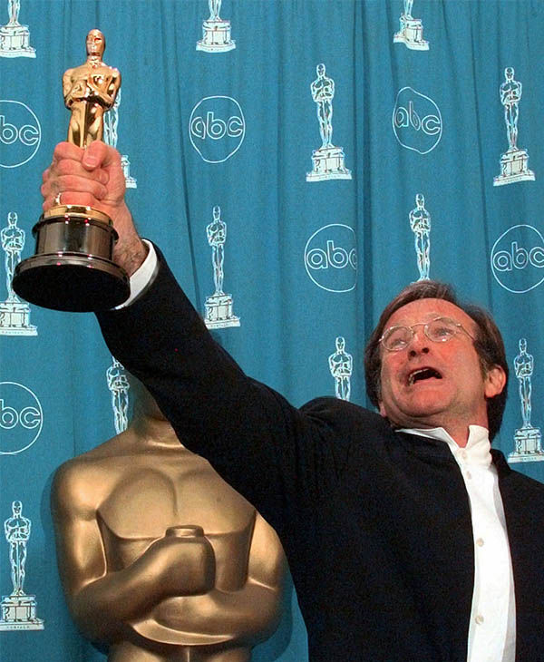 Williams after winning the Best Supporting Actor Oscar for
