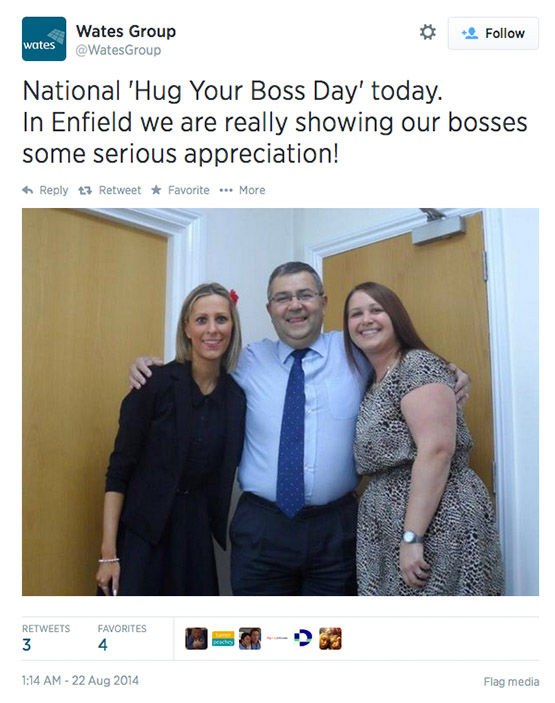 Twitter users celebrate the chance to hug it out with their bosses today. <span class=meta>(WatesGroup&#47;Twitter)</span>