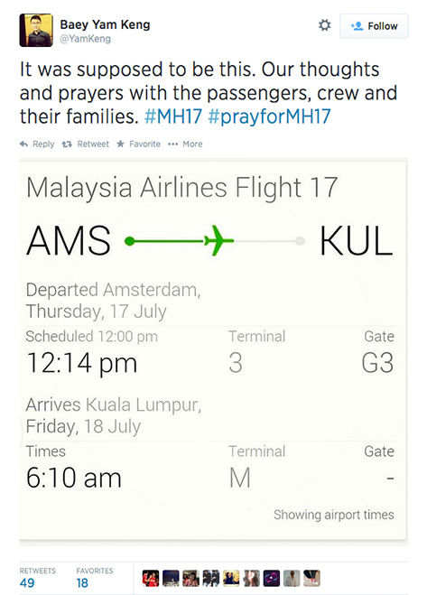 "<div class=""meta image-caption""><div class=""origin-logo origin-image ""><span></span></div><span class=""caption-text"">Twitter users adopted #prayforMH17 as a hashtag. (YamKeng / Twitter)</span></div>"