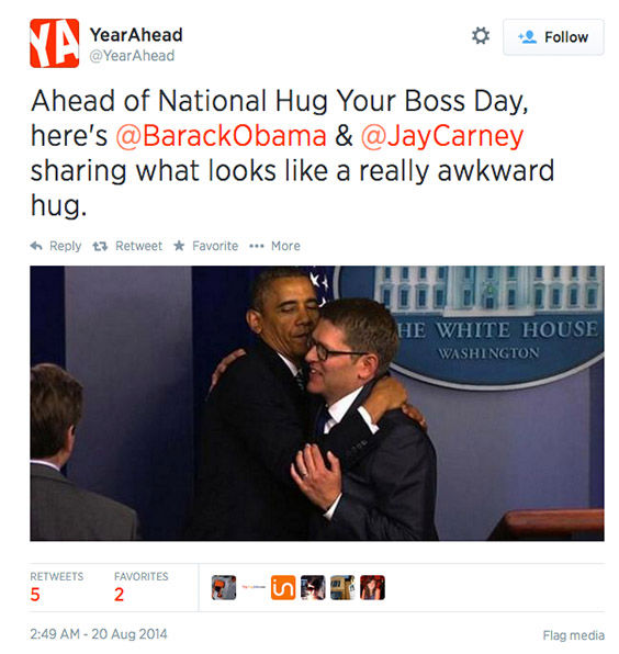 "<div class=""meta image-caption""><div class=""origin-logo origin-image ""><span></span></div><span class=""caption-text"">Twitter users celebrate the chance to hug it out with their bosses today. (YearAhead/Twitter)</span></div>"