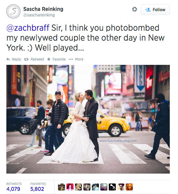 Zach Braff photobombs a newly wed couple as they pose in front of Times Square. <span class=meta>(saschareinking &#47; Twitter)</span>