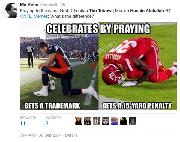 """<div class=""""meta image-caption""""><div class=""""origin-logo origin-image """"><span></span></div><span class=""""caption-text"""">Many social media users made comparisons between Abdullah and Tim Tebow, who was frequently seen kneeling on field to pray. (habdullah39 / Instagram)</span></div>"""