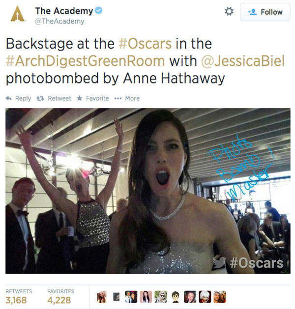 "<div class=""meta ""><span class=""caption-text "">Anne Hathoway photobombs Jessica Biel backstage at the 2014 Academy Awards. (TheAcademy / Twitter)</span></div>"