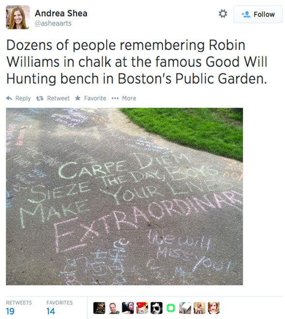 "<div class=""meta image-caption""><div class=""origin-logo origin-image ""><span></span></div><span class=""caption-text"">Fans of Robin Williams turn the Boston Public Garden bench featured in the movie Good Will Hunting into a memorial. (asheaarts / Twitter)</span></div>"
