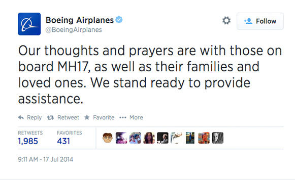 After the crash was confirmed, Boeing offered their condolences. <span class=meta>BoeingAirplanes / Twitter</span>