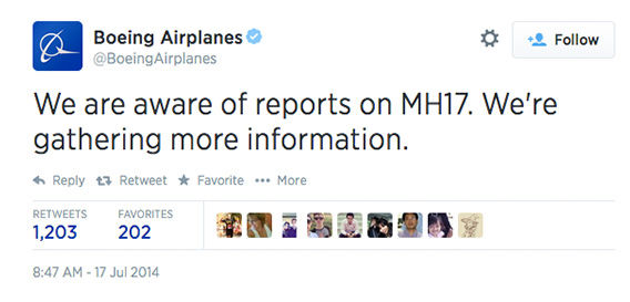 Being the airplane manufacturer of flight MH17, Boeing responded just as reports were coming in. <span class=meta>BoeingAirplanes / Twitter</span>