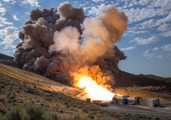 "<div class=""meta image-caption""><div class=""origin-logo origin-image none""><span>none</span></div><span class=""caption-text"">The final qualification motor (QM-2) test for the Space Launch Systemâ?™s booster, Tuesday, June 28, 2016, at Orbital ATK Propulsion Systems test facilities in Promontory, Utah. (NASA/Bill Ingalls)</span></div>"