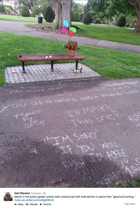 "<div class=""meta image-caption""><div class=""origin-logo origin-image ""><span></span></div><span class=""caption-text"">Fans of Robin Williams turn the Boston Public Garden bench featured in the movie Good Will Hunting into a memorial. (carlwbz / Twitter)</span></div>"