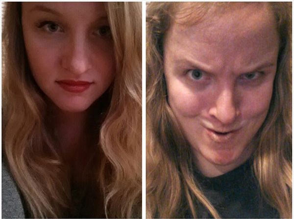 This girl looks pretty on the left, but shows her Heavy Metal rocker alter ego on the right. <span class=meta>reddit.com/user/chompop</span>