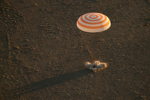 "<div class=""meta image-caption""><div class=""origin-logo origin-image none""><span>none</span></div><span class=""caption-text"">The Soyuz TMA-20M spacecraft is seen as it lands near the town of Zhezkazgan, Kazakhstan on Wednesday, Sept. 7, 2016 (NASA/Bill Ingalls)</span></div>"