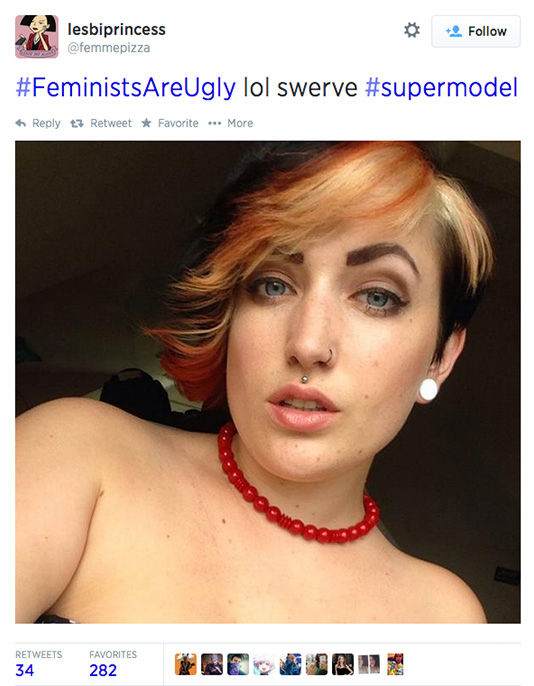 The arrival of a new hashtag, #FeministsAreUgly, has feminists around the world posting selfies on Twitter, repurposing the word &#39;ugly&#39; to mean something beautiful. <span class=meta>(femmepizza &#47; Twitter)</span>