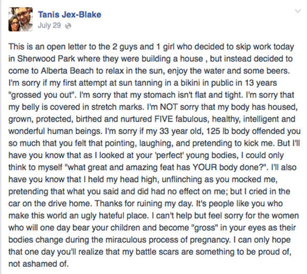 The status that Jex-Blake posted after the incident. <span class=meta>(Tanis Jex-Blake &#47; Facebook)</span>