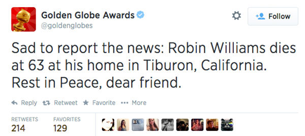 Social media outpours in grief over the death of actor Robin Williams. <span class=meta>(goldenglobes &#47; Twitter)</span>