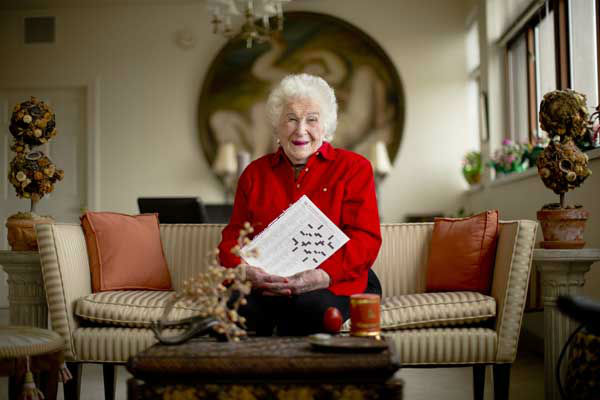 Crossword constructor Bernice Gordon, born Jan. 11, 1914, the 1st centenarian to have a grid printed in the NYTimes, published not long after the centennial of the puzzle itself.  <span class=meta>(AP Photo&#47; Matt Rourke)</span>