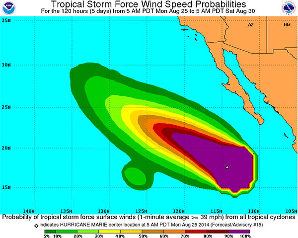 Hurricane Marie, now a Category 4, will swing around the Southern California coast. Not expected to make landfall, though rough surf and strong rip currents will hit SoCal beaches. <span class=meta>(NOAA)</span>