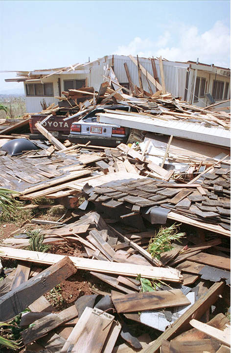 Rubble of a home that was destroyed during Hurricane Iniki. <span class=meta>Reed Saxon / AP</span>