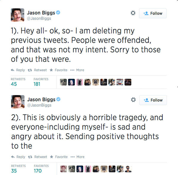 After a few hours, he deleted his previous posts and issued a four-part apology. <span class=meta>jasonbiggs / Twitter</span>