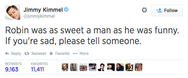Comedian Jimmy Kimmel expressed his condolences. <span class=meta>jimmykimmel / Twitter</span>