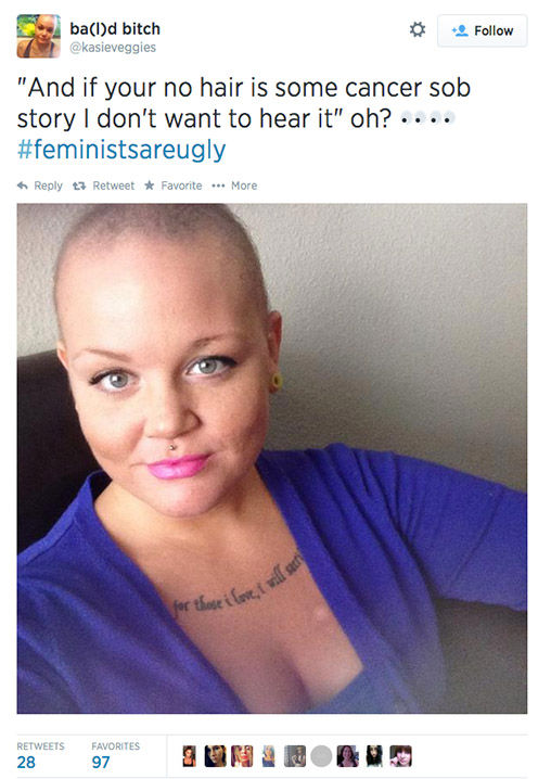 "<div class=""meta ""><span class=""caption-text "">The arrival of a new hashtag, #FeministsAreUgly, has feminists around the world posting selfies on Twitter, repurposing the word 'ugly' to mean something beautiful. (kasieveggies / Twitter)</span></div>"