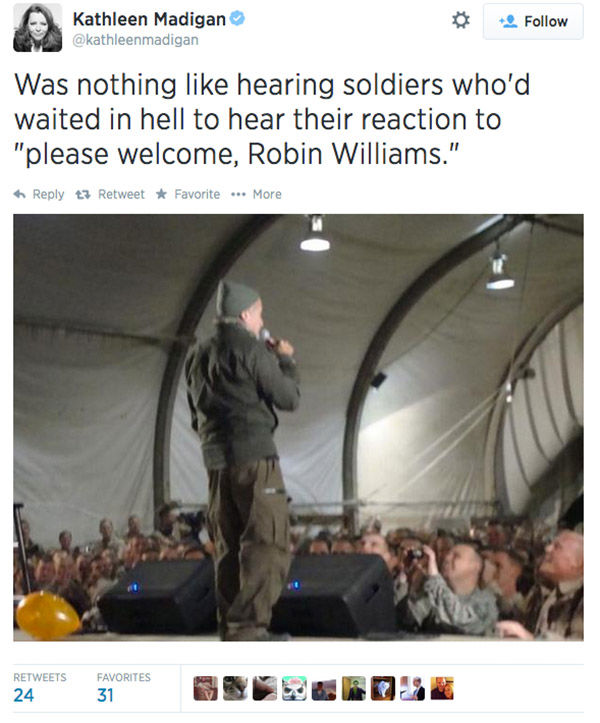 Comedian Kathleen Madigan shares her experiences performing USO comedy shows with Williams in Iraq and Afghanistan. <span class=meta>kathleenmadigan / Twitter</span>