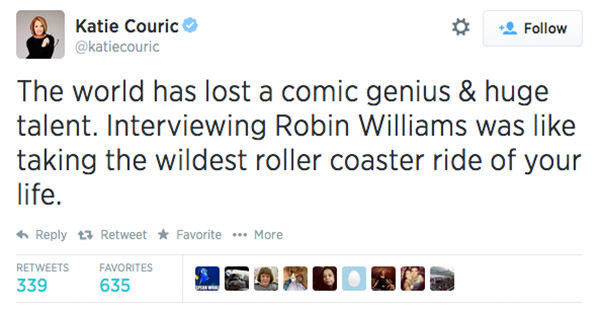 Anchor Katie Couric expressed her condolences. <span class=meta>katiecouric / Twitter</span>