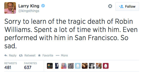 TV host Larry King expressed his condolences. <span class=meta>kingsthings / Twitter</span>