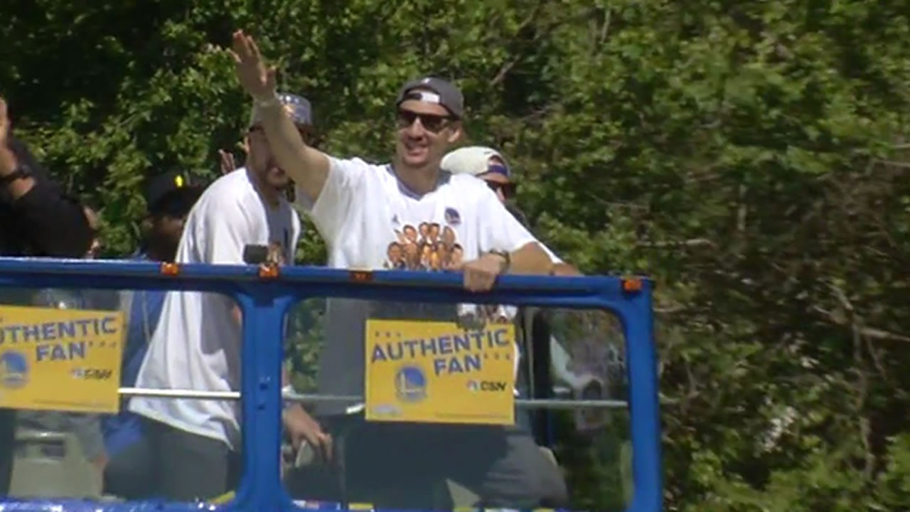 "<div class=""meta image-caption""><div class=""origin-logo origin-image none""><span>none</span></div><span class=""caption-text"">Klay Thompson at the Golden State Warriors parade in Oakland on Friday, June 19, 2015. (KGO-TV)   </span></div>"