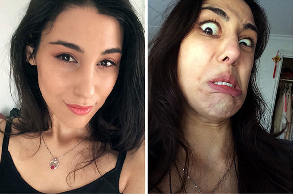 This girl pulls off her best Disney villain look in the right picture. <span class=meta>reddit.com/user/lovelyephemera</span>