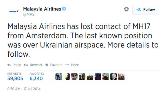 Malaysia Airlines first reported losing contact with MH17. <span class=meta>MAS / Twitter</span>